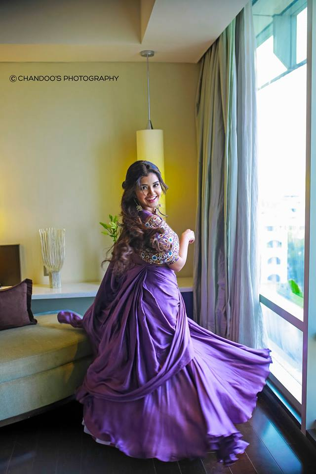 Anupama Parameswaran in Lavender Colour Dress