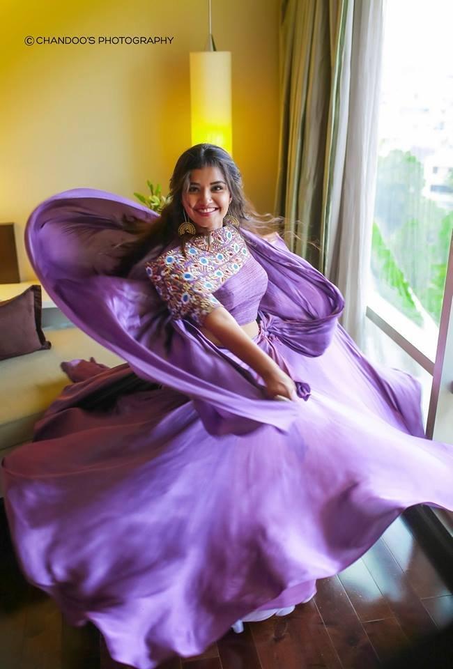 Anupama Parameswaran in Lavender Colour Dress