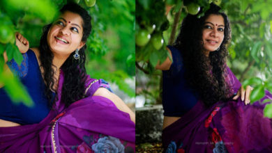 Gilu Joseph Photo in Purple Saree